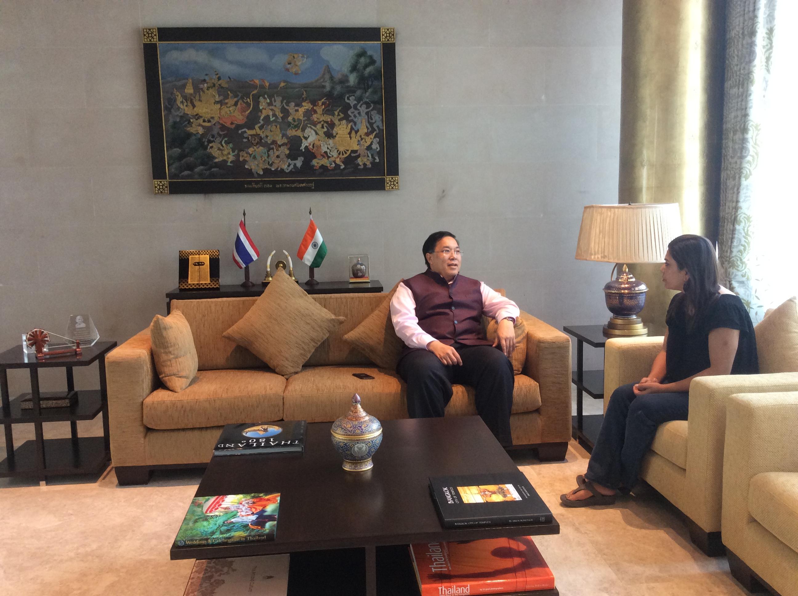 Chutintorn Sam Gongsakdi, Ambassador of Thailand , speaking during the  interview